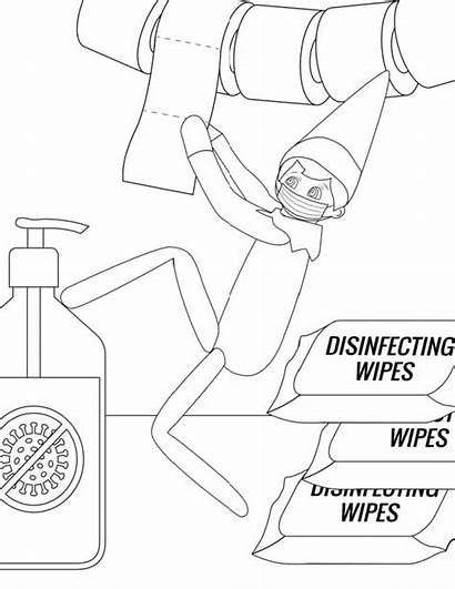 Elf Coloring Shelf Pages Printable Mask Disinfecting