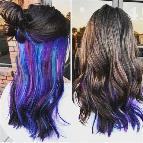 Purple Blue Green Layered Under Natural Brown Hair