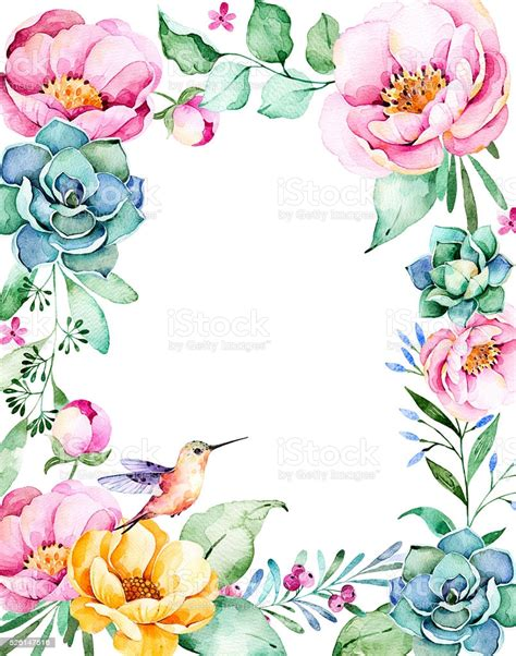 Beautiful Watercolor Frame Border With