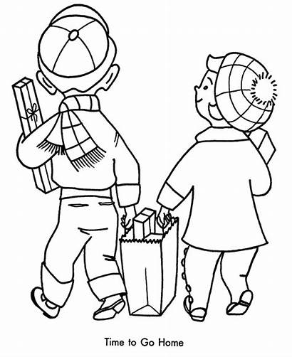 Shopping Coloring Pages Christmas Drawing Printable Going