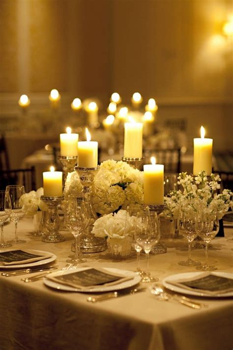 table decorations candles each 8 foot table will a cluster of of silver mercury