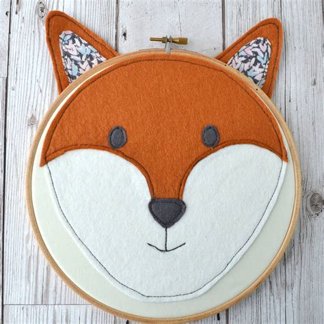 Handmade Fox Head Embroidery Hoop By Pins And Needles ...
