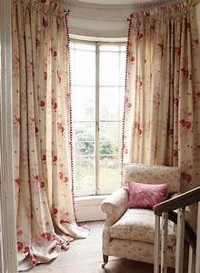 Roses curtains and sprig chair with josephine red cushion for English floral curtains