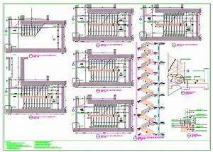 Staircase, Plans, Sections, And, Details, Autocad, Drawing