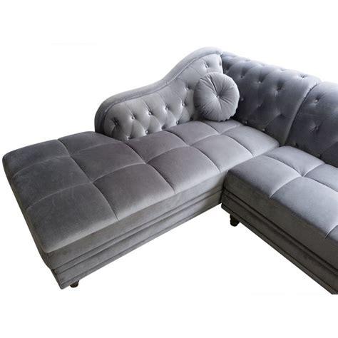 canapé chesterfield en velours canapé d 39 angle chesterfield en velours gris argent gauche