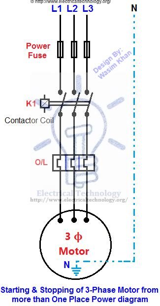 3 Phase Motor Wiring Drawing by Starting Stopping Of 3 Phase Motor From More Than One