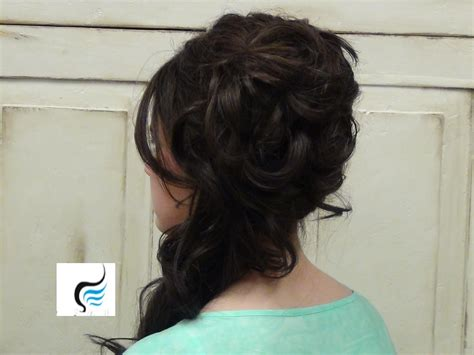 Cascading Side Updo For Long Hair Prom Or Weddings