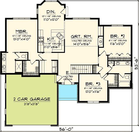 3 Bedroom Hill Country Rambler 89815AH Architectural