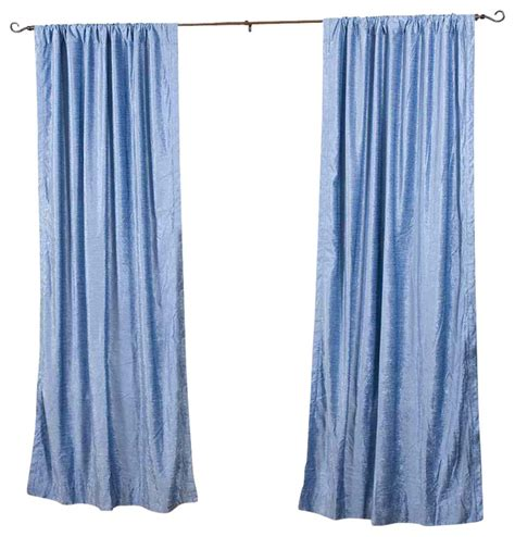 light blue rod pocket velvet curtain drape panel 43w