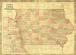 1864 Johnson Map Of Iowa
