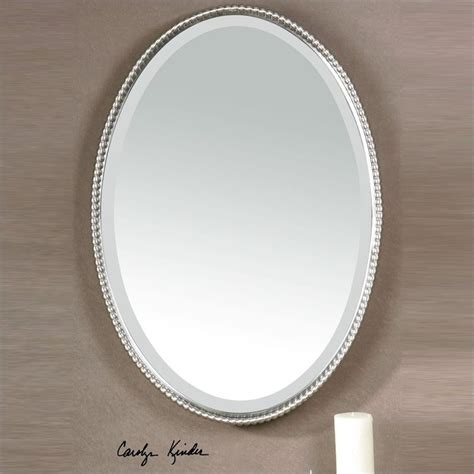 brushed nickel mirror uttermost sherise beaded metal oval wall mirror in brushed