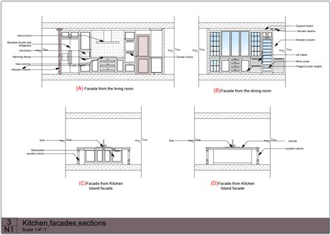 dining table plan elevation section  woodworking