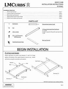 Lmcurbs Roof Curb Installation Instructions For R
