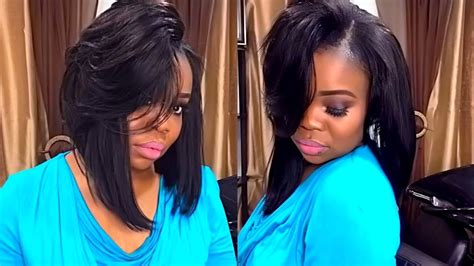 Full Sew In Weave Simple Bob With Leave Out Start To