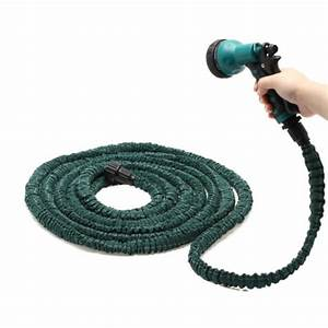 Deluxe 25 50 75 100 feet expandable flexible garden water for Best flexible garden hose