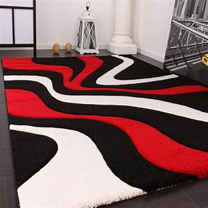 Teppich Schwarz Weiß Grau : designer teppich mit konturenschnitt wellen muster rot schwarz weiss wohn und schlafbereich ~ Eleganceandgraceweddings.com Haus und Dekorationen