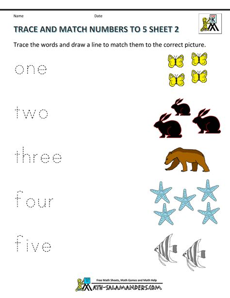 preschool math worksheets matching to 5 704 | preschool printable worksheets trace and match numbers to 5 2