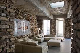 Living Room Design Brick Wall Interior Raw Look Loft In D Sseldorf