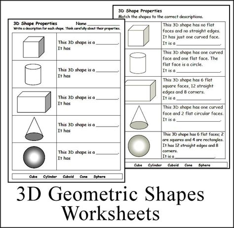 3d geometric shape worksheets math homeschool teach