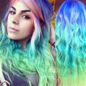 Green and Blue Ombre Hair