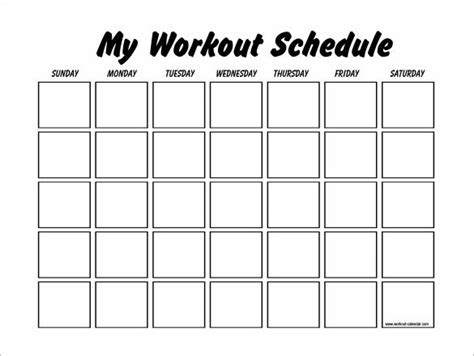 workout schedule template   word excel