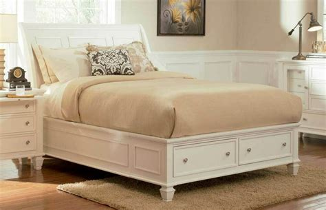 sandy beach white finish wood sleigh panel bed