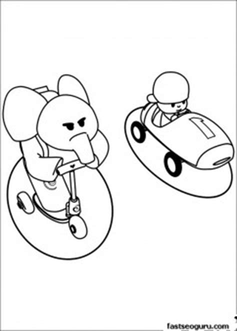 printable coloring pages pocoyo  elly  race