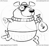 Bank Robbing Cartoon Dog Coloring Clipart Outlined Thoman Cory Vector Background Illustration Clip Royalty Transparent Clipartof Yes sketch template