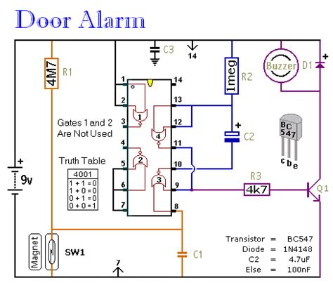 Security Wiring Schematic by Simple Door Alarm Construction Guide