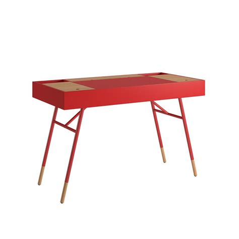 built in desk outlets homesullivan marlowe flip compartment red writing desk