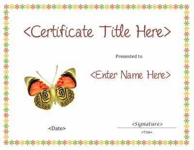 butterfly blank certificate template