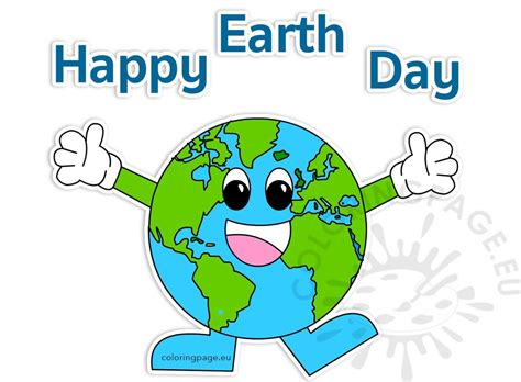 happy earth day  clipart coloring page