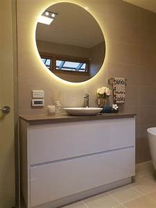 Rear, Soft, Glow, Led, Backlit, Round, Bathroom, Mirror, Warm, Cool