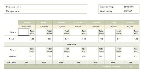 Timesheet With Meal Break Template by Timesheet With Breaks A Meal