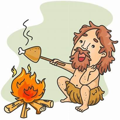Caveman History Barbecue Grilling Together Evolution Mister