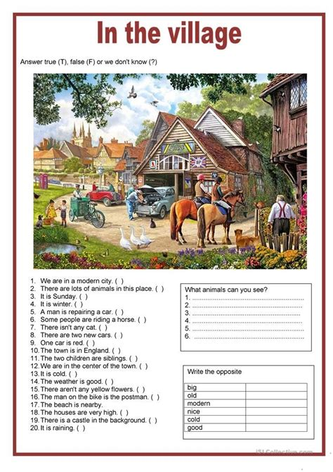 picture description   village english worksheets