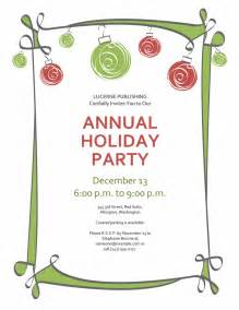 holiday party invitation with ornaments and swirling border informal design office templates