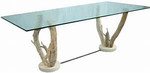 Table basse verre sur pieds bois flotté Table basse design