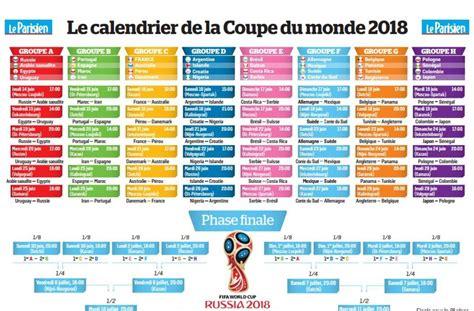 Carte Coupe Du Monde 2018 by Coupe Du Monde 2018 Le Calendrier 224 Imprimer Le Parisien
