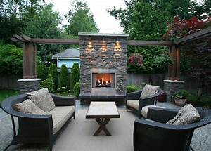 Outdoor Living Area With Fireplace - Contemporary - Patio