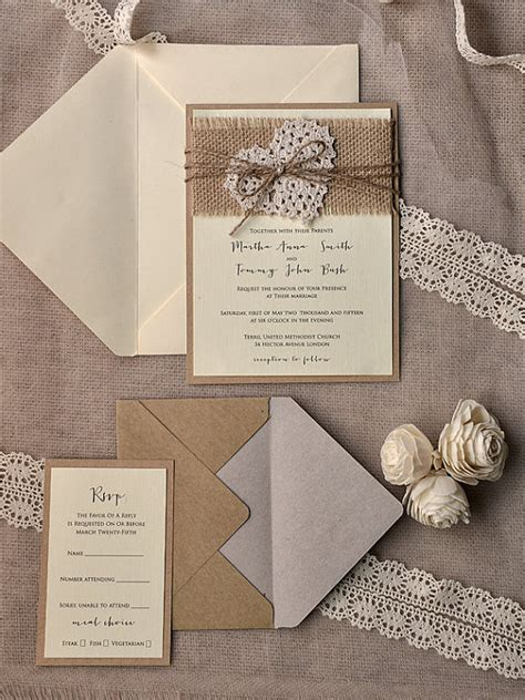 rustic burlap heart wedding invitation kits