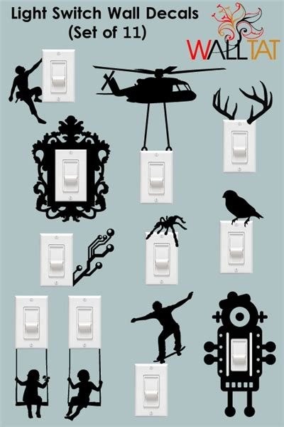 light switch and outlet wall decals 11 pack walltat