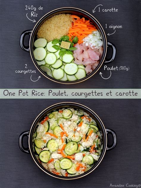 pot rice poulet courgettes  carotte amandine cooking