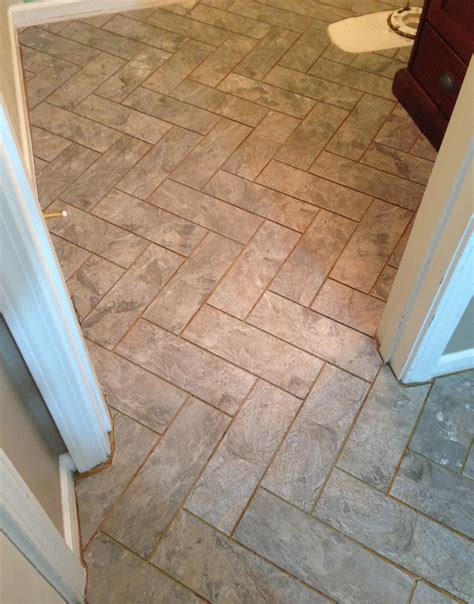 Diy Herringbone [peelnstick] Tile Floor  Grace + Gumption