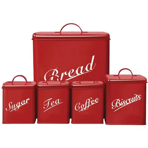 5 Piece Canister Set Bread Bin Sugar Coffee Tea Biscuits