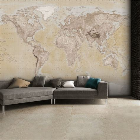 wall neutral world map atlas wallpaper mural wall art