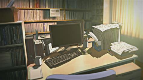 computers indoors room illustrations anime desks nichijou