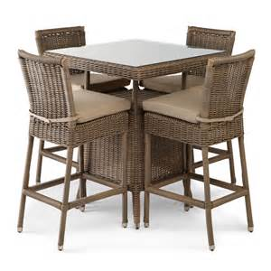 outdoor furniture table and chairs alcee resin wicker patio 5 piece bar table and chair set