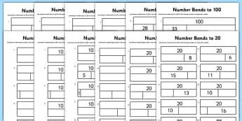 number bonds to 100 ks1 primary resources