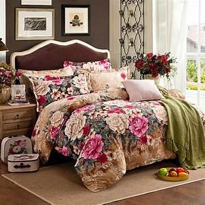 100, Cotton, Pastoral, Big, Flowers, Bedding, Set, Duvet, Cover